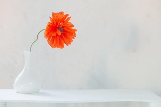 Rote mohnblume in weißer vase auf weißer wand