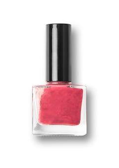 Rote nagellack-flasche auf weißem hintergrund