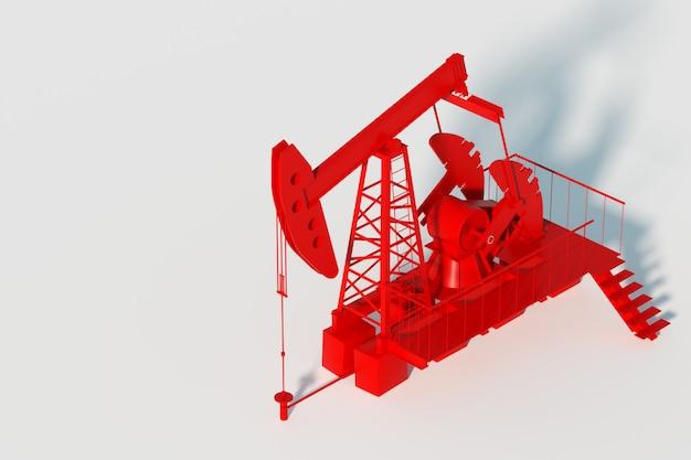 Rote ölpumpe auf einer weißen wand, ölbohrinsel industrielle ölförderung, ölpreise. technologiekonzept, fossile energiequellen, kohlenwasserstoffe. kopierraum, 3d-illustration, 3d-rendering.