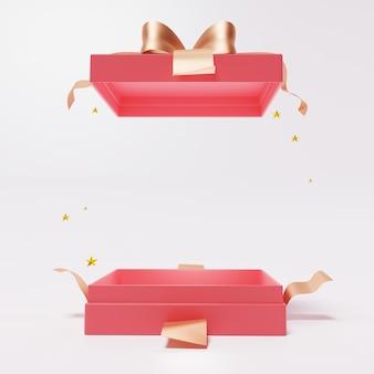 Rote offene geschenkbox mit band auf weiß