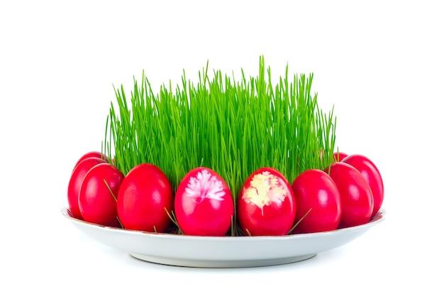 Rote ostereier um weizengras auf der platte lokalisiert auf weiß