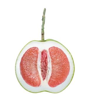 Rote pampelmuse zitrusfrucht auf weißem hintergrund, (mit schnittpfad)