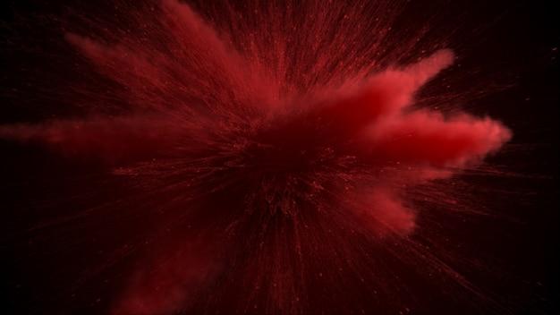 Rote pulverexplosion lokalisiert auf schwarzem hintergrund.