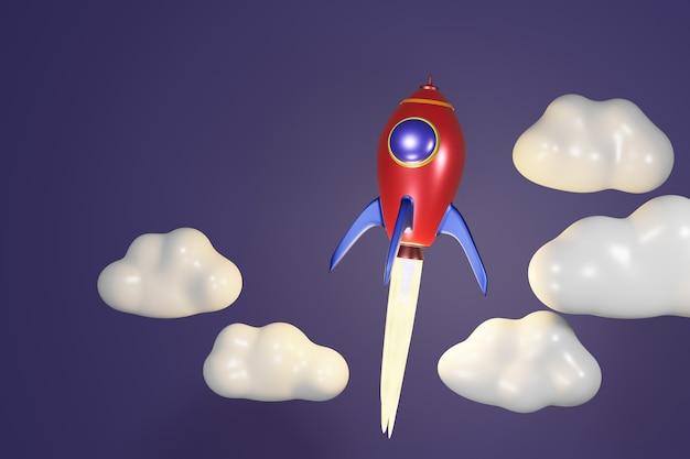 Rote rakete des ballistischen starts mit wolke auf 3d-rendering der dunkelblauen wand.