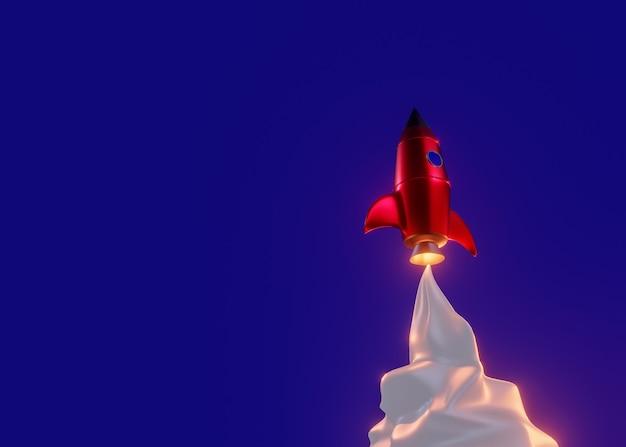 Rote rakete im retro-stil mit rauchwolken