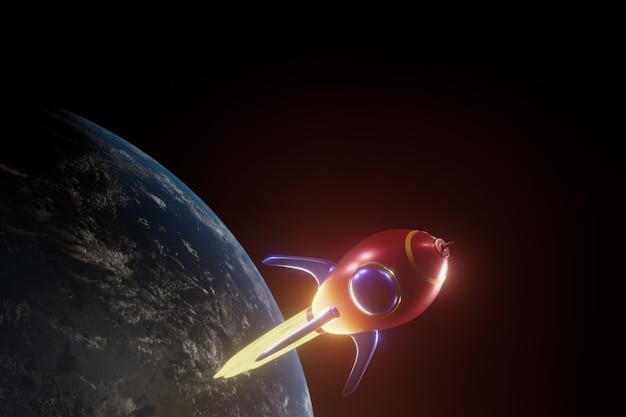Rote rakete mit ballistischem start, planetenstart, 3d-rendering. elemente dieses bildes von der nasa eingerichtet