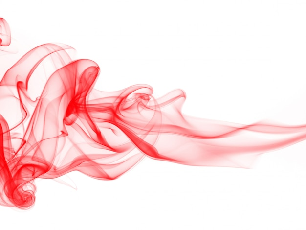 Rote rauchabstraktion auf weißem hintergrund, bewegung der roten tintenfarbe