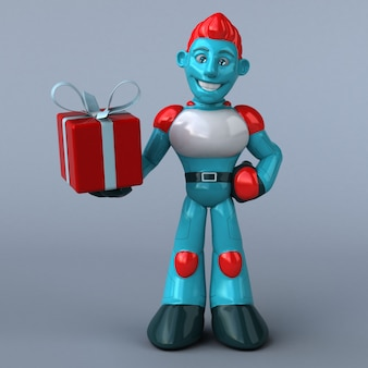 Rote roboter-3d-illustration