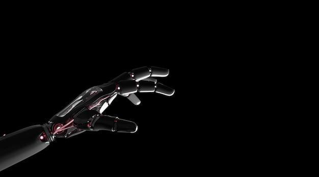 Rote roboterhand, die wiedergabe des fingers 3d zeigt