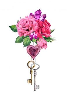 Rote, rosa rosen mit herz, zwei schlüssel, federn, kristalledelstein. romantischer aquarellblumenstrauß für valentinstag, hochzeit