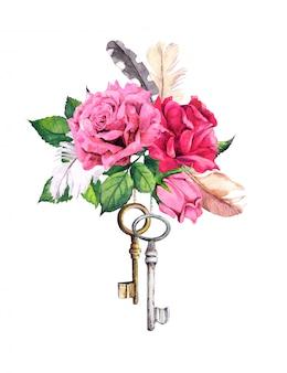 Rote, rosa rosen mit zwei schlüsseln und federn. aquarell im boho-stil zum valentinstag, hochzeit