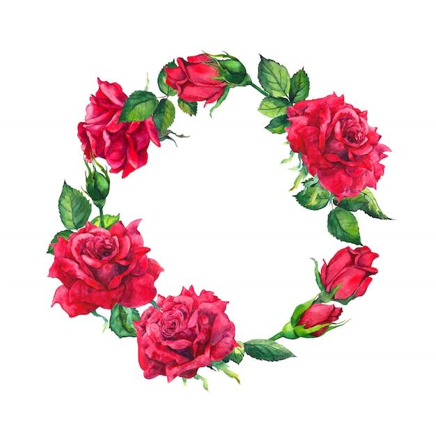 Rote rosen - kranz. aquarell mit rosafarbenen blumen, knospen für valentinstag