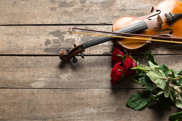 Rote rosen und eine geige