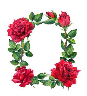Rote rosenblumen - blumenrand. aquarell rahmen
