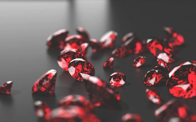 Rote rubindiamanten auf schwarzem hintergrund