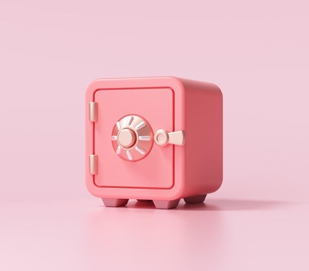Rote safe-box-schriftartansicht auf rosa hintergrund. 3d-renderillustration