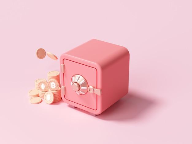 Rote safebox mit goldmünzenstapelschriftansicht auf rosa hintergrund. 3d-renderillustration