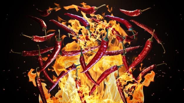 Rote scharfe chilischoten auf feuerhintergrund 3d-rendering