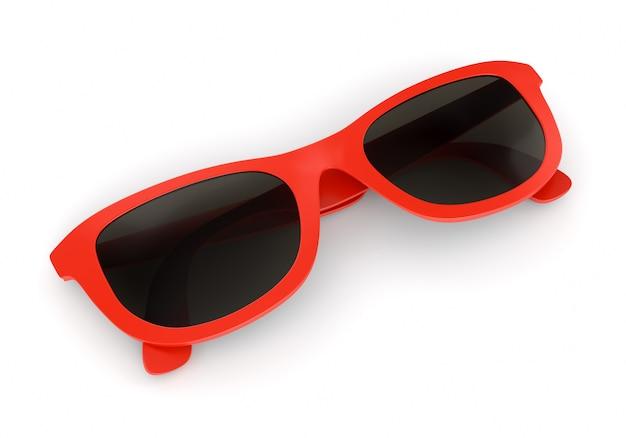 Rote sonnenbrille auf weiß