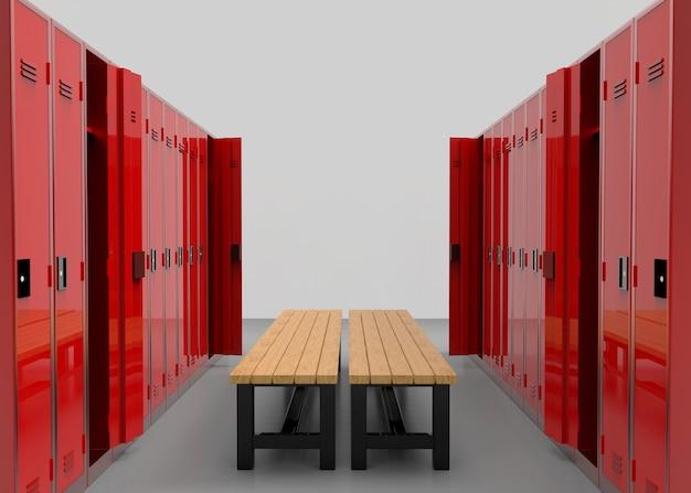 Rote spinde reihen getrennt durch eine holzbank