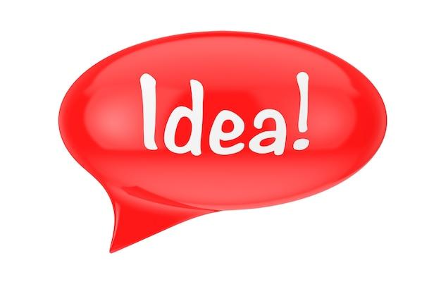 Rote sprechblase mit idee-zeichen auf weißem hintergrund. 3d-rendering