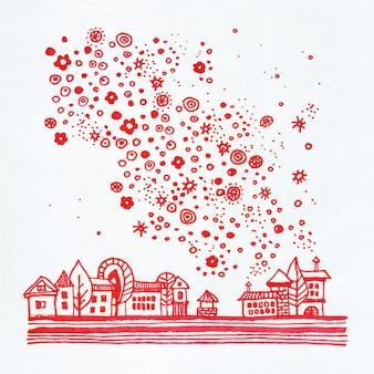 Rote stadt mit sternen und blumen in der himmelaquarellillustration auf weißem hintergrund