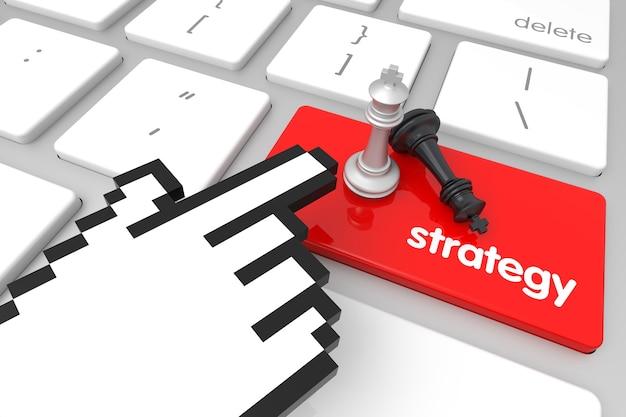 Rote strategie-eingabetaste mit handcursor. 3d-rendering