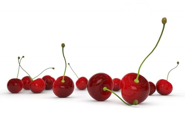 Rote süße kirsche getrennt auf weiß