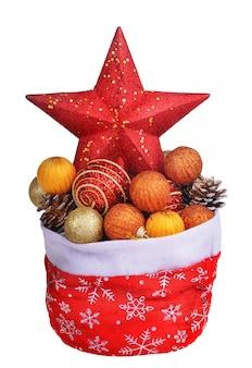 Rote tasche santa clauss mit weihnachtsspielwaren