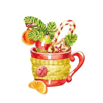 Rote tasse in einem schal mit einer scheibe mandarine und weihnachtsdekoration