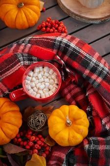 Rote tasse kakao mit marshmallow, dekorativer kürbis. herbststimmung, wärmendes getränk. gemütliche atmosphäre
