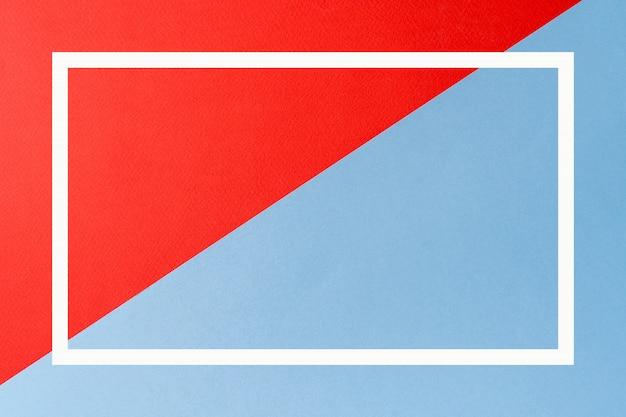 Rote und blaue farben extrahieren papierhintergrund mit geometrischer form und mit quadratischem rahmen.