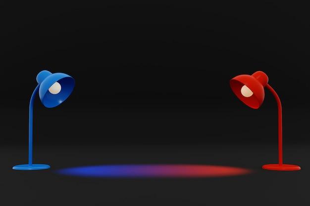 Rote und blaue lampenbeleuchtung auf dunklem hintergrund, 3d illustration.