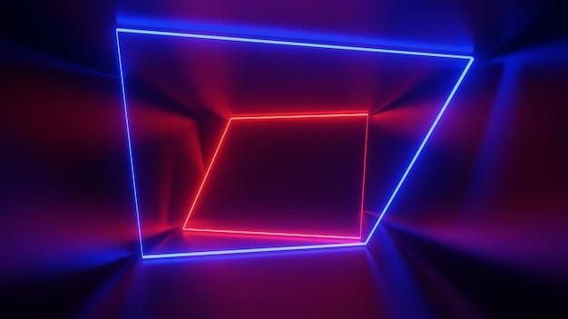 Rote und blaue leuchtstofflampen in dunkler umgebung