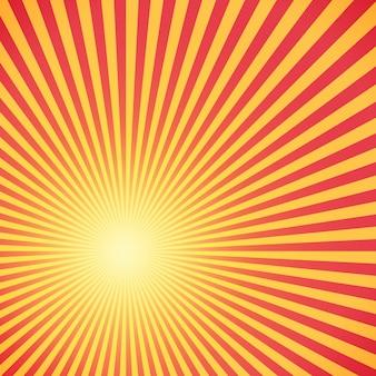 Rote und gelbe sunburst kreis und hintergrundmuster