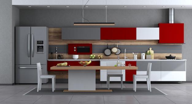 Rote und graue moderne küche