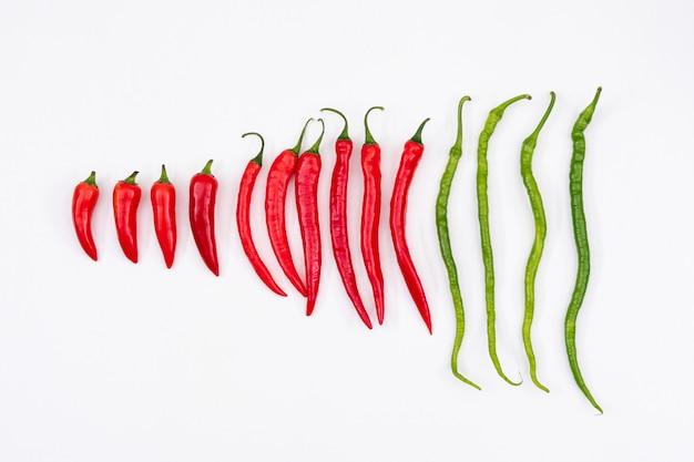 Rote und grüne chilischote von klein bis groß