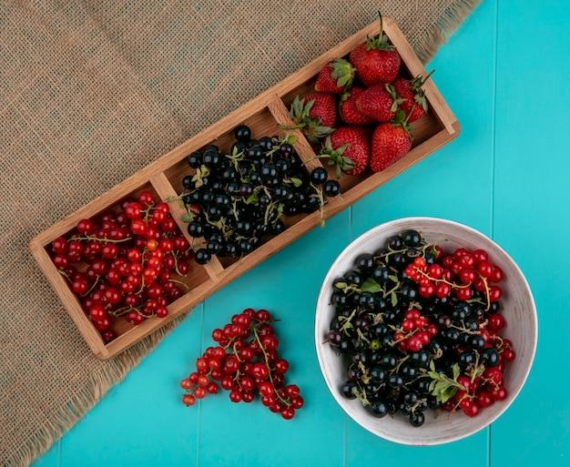 Rote und schwarze johannisbeeren der draufsicht mit erdbeeren auf einem blauen hintergrund