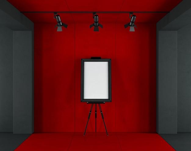 Rote und schwarze minimalistische kunstgalerie