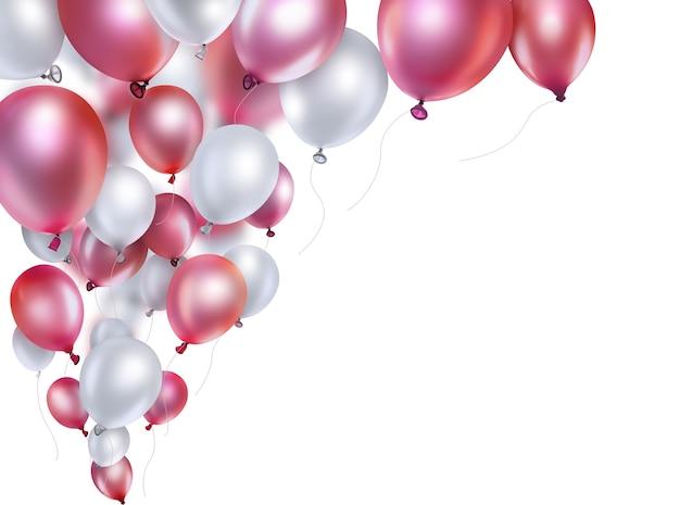 Rote und weiße ballons auf weißem hintergrund