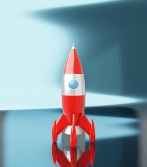Rote und weiße farben der spielzeugraumrakete auf blauweißem metallic-, 3d-rendering