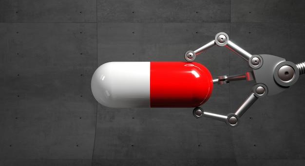 Rote und weiße kapsel in der roboterhand