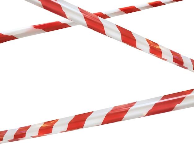 Rote und weiße linien des absperrbandes verbieten die durchfahrt. absperrband auf weißem isolat. barriere, die den verkehr verbietet. warnband für gefährliche bereiche nicht betreten. konzept kein eintrag. platz kopieren