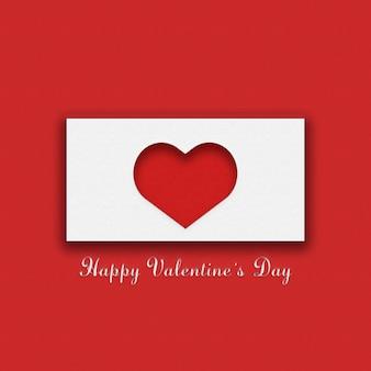 Rote und weiße postkarte für valentinstag