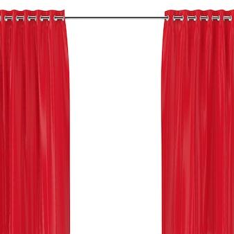 Rote vorhänge mit ösen auf der runden leiste auf weißem hintergrund. 3d-rendering