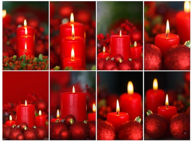 Rote weihnachtskerzen und ornamente über einem verschwommenen hintergrund