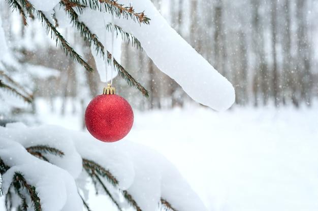 Rote weihnachtskugel, die an tannenzweigen hängt, die mit schnee in einem verschneiten wald bedeckt werden