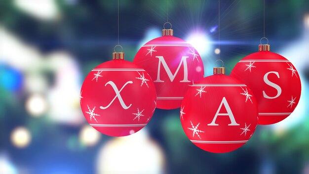 Rote weihnachtskugeln hängen mit bokeh lights effekt hinter