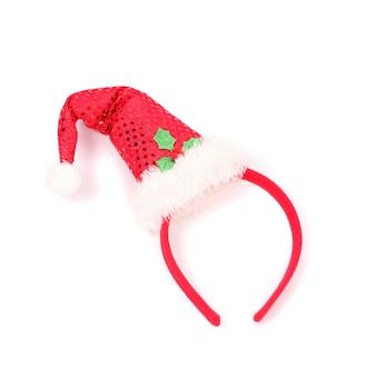 Rote weihnachtsmütze am filet und gestreifte fliege