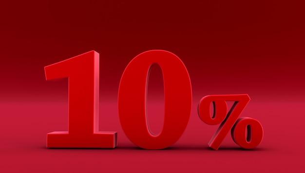 Rote zehn prozent auf rotem hintergrund. 3d-rendering. 10%